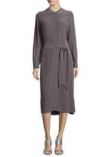 Go Silk Long-Sleeve Silk Shirtdress