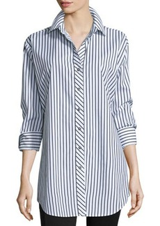 Go Silk Long-Sleeve Skinny-Striped Big Shirt