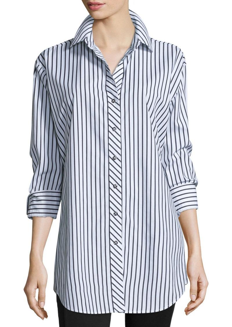 Go Silk Long-Sleeve Skinny-Striped Big Shirt