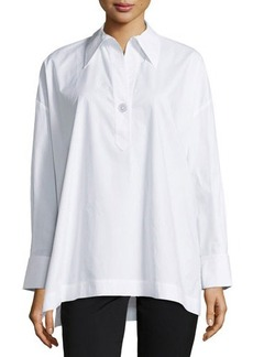 Go Silk Oversize Stretch One-Button Shirt