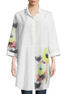 Go Silk Placed Floral-Detail Blouse