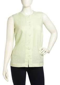Go Silk Plus Button-Front Linen Tank