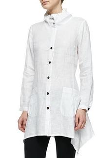 Go Silk Ruffle-Collar Linen Drama Big Shirt