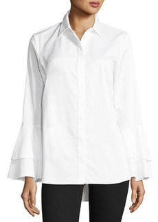 Ruffle-Sleeve Cotton Shirt