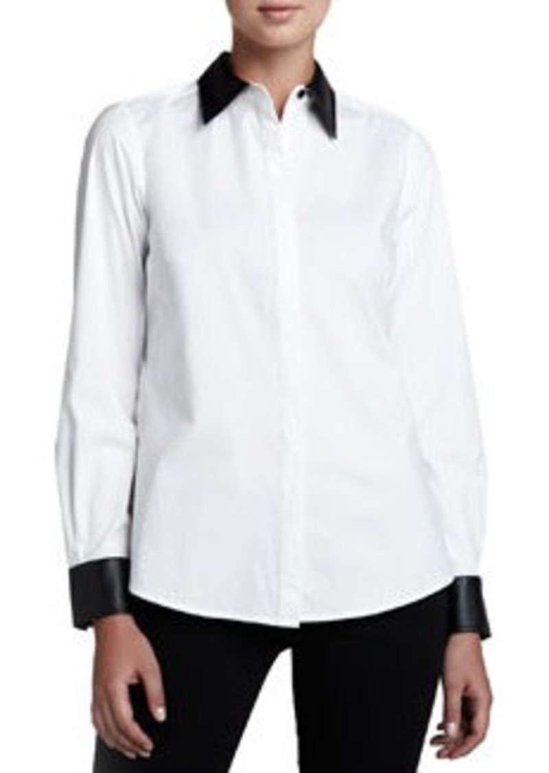 Go Silk Shirt with Faux Leather Trim
