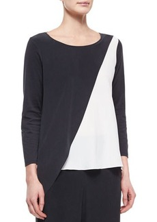 Go Silk Spliced Asymmetric Silk Tunic