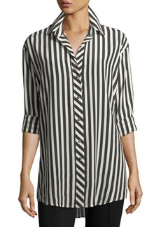 Go Silk Striped Classic Poplin Oversized Shirt