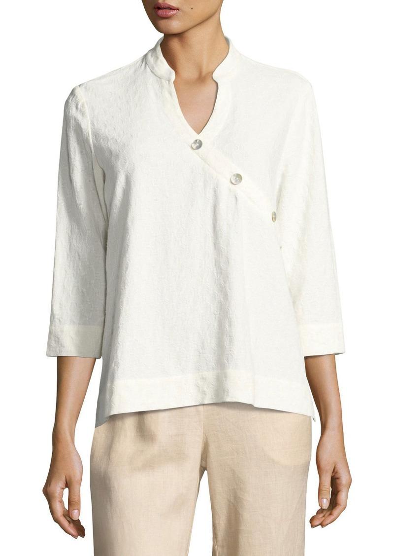 Go Silk Textured Linen-Blend 3/4-Sleeve Top