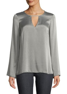 Go Silk Go Window Keyhole-Front Dressing Bell-Sleeve Blouse