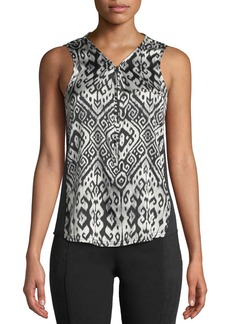 Go Silk Go Zippy Medallion-Print V-Neck Silk-Stretch Blouse