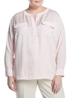 Go Silk Jacquard Two-Pocket Tunic  Plus Size