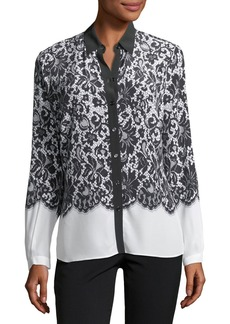 Lace-Print Silk Blouse