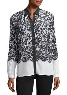 Lace-Print Silk Blouse