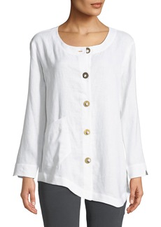 Go Silk Linen Asymmetric-Hem Tunic