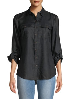 Linen Easy Button-Front Shirt