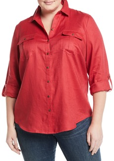 Go Silk Linen Easy Button-Front Shirt