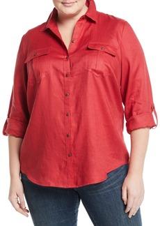 Go Silk Linen Easy Button-Front Shirt  Plus Size