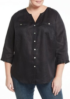 Go Silk Linen Tab-Sleeve Shirt