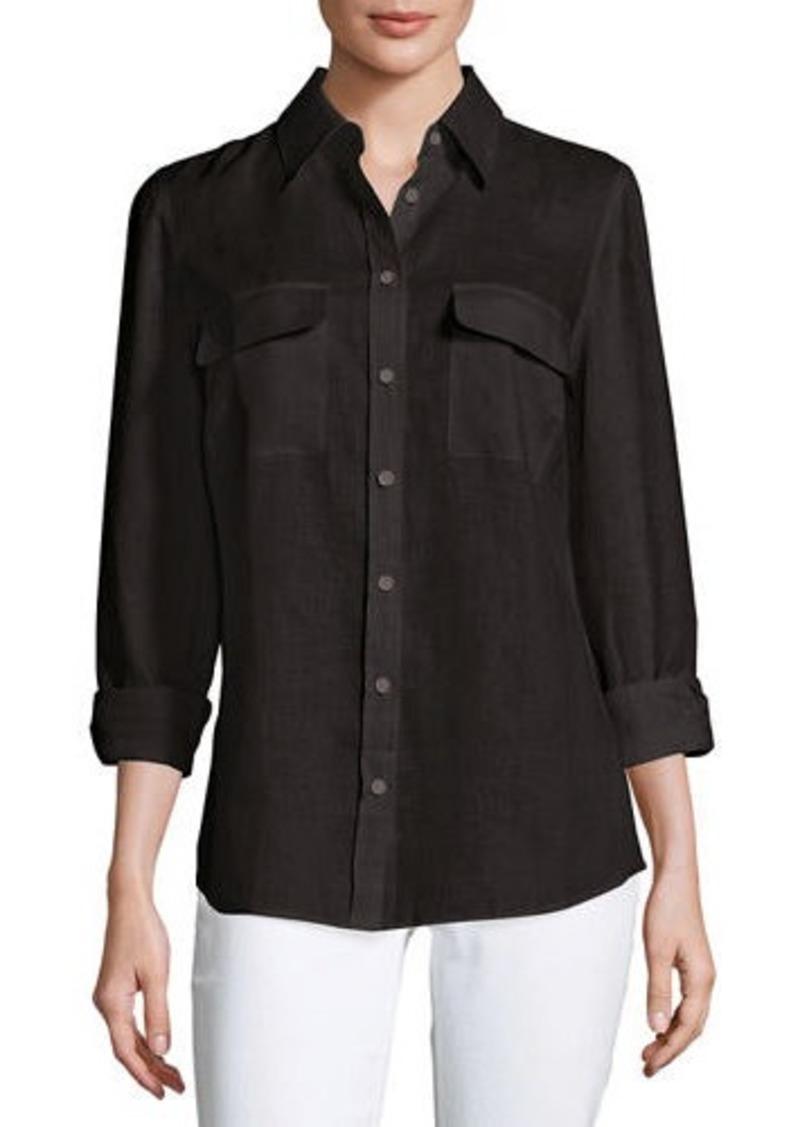 Go Silk Long-Sleeve Button-Front Linen Top