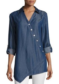 Go Silk Long-Sleeve Denim Asymmetric Button Shirt