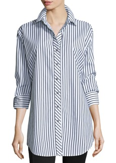 Go Silk Long-Sleeve Skinny-Striped Big Shirt  White/Black