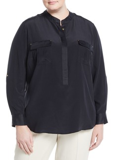 Go Silk Long-Sleeve Stud-Trim Silk Blouse  Plus Size