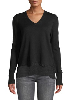 Go Silk Meshed Up V-Neck Sweater