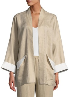 Go Silk Open-Front Linen Jacket