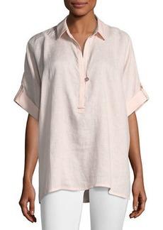 Go Silk Oversized Short-Sleeve Linen Tunic  Plus Size