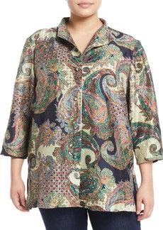 Go Silk Paisley Print Crinkles Silk Tunic