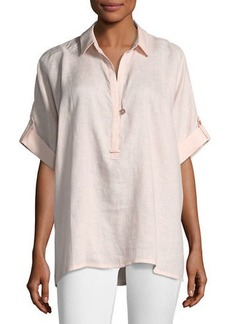 Go Silk Petite Oversized Short-Sleeve Linen Tunic