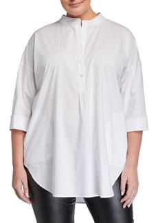 Go Silk Plus Size 3/4-Sleeve Half-Button Oversized Stretch-Cotton Shirt