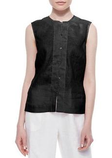 Go Silk Plus Size Linen Button-Front Shell