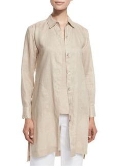 Go Silk Plus Size Long-Sleeve Linen Duster Coat