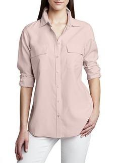 Go Silk Plus Size Safari Long-Sleeve Silk Shirt