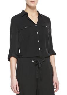 Go Silk Plus Size Silk Safari Shirt w/ Tab Sleeve Detail