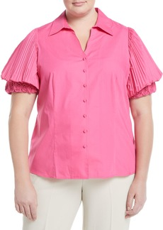 Go Silk Rosette-Sleeve Button-Front Blouse