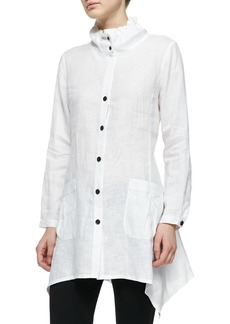Go Silk Ruffle-Collar Linen Drama Big Shirt