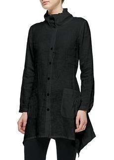 Go Silk Ruffle-Collar Linen Drama Big Shirt  Petite