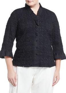 Go Silk Ruffle-Sleeve Puckered Poplin Shirt