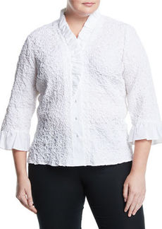 Go Silk Ruffle-Sleeve Puckered Poplin Shirt