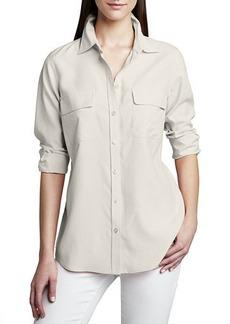 Go Silk Safari Long-Sleeve Silk Shirt  Plus Size