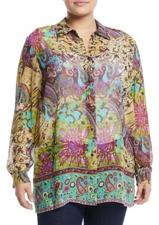 Go Silk Silk Medallion-Print Button-Front Blouse