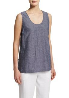 Go Silk Sleeveless Cross-Dye Linen Tank  Plus Size
