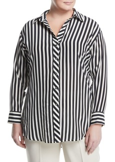 Go Silk Striped Georgette Button-Front Blouse