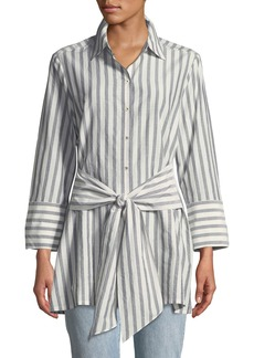 Go Silk Striped Tie-Front Silk-Blend Shirt
