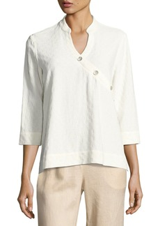 Go Silk Textured Linen-Blend 3/4-Sleeve Top