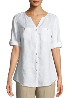 V-Neck Button-Front Linen Tunic