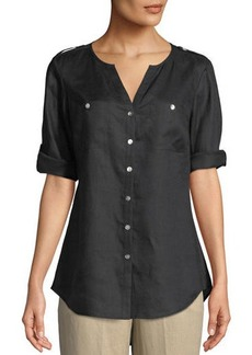 Go Silk V-Neck Button-Front Linen Tunic