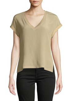 Go Silk V-Neck Crinkled Chiffon-Front Tee